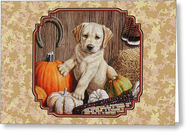 Yellow Dog Paintings Greeting Cards - Pumpkin Puppy Leafy Background Greeting Card by Crista Forest