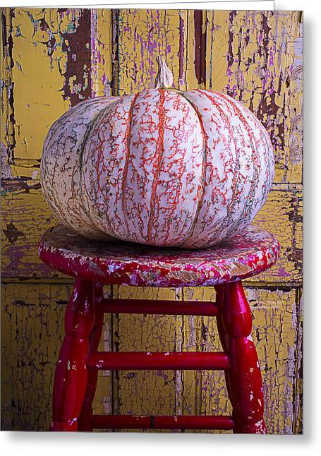 Ornamentation Greeting Cards - Pumpkin Sitting On Red Stool Greeting Card by Garry Gay