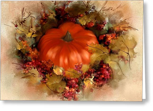 Pumpkins Mixed Media Greeting Cards - Spiced Pumpkin  Greeting Card by Colleen Taylor