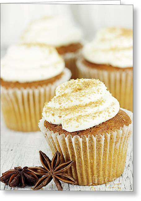 Frosting Greeting Cards - Pumpkin Spice Cupcakes Greeting Card by Stephanie Frey
