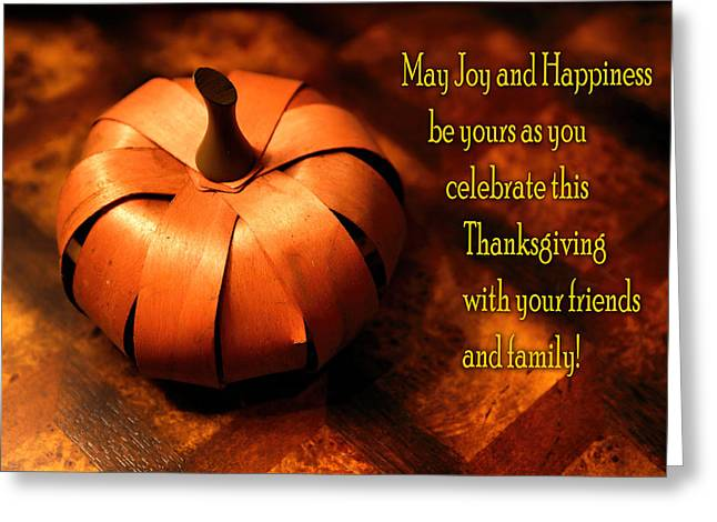 Texting Greeting Cards - Pumpkin Thanksgiving Card Greeting Card by Linda Phelps