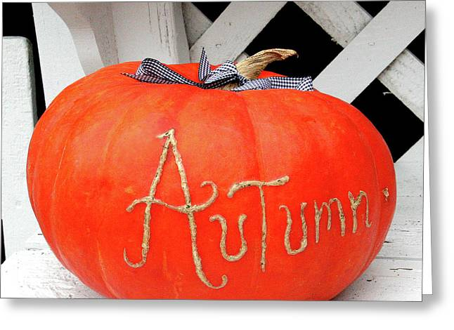 Block Printing Greeting Cards - Pumpkin Time Greeting Card by Art Block Collections