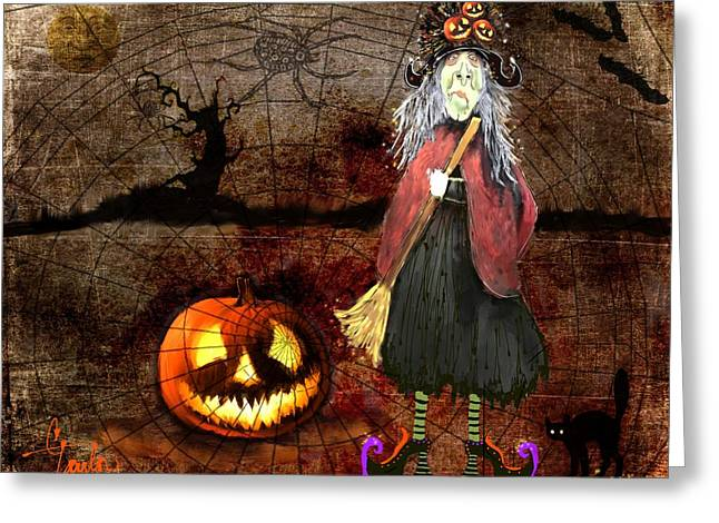 Seasonal Mixed Media Greeting Cards - Pumpkinella The Magical Good Witch and Her Magical Cat Greeting Card by Colleen Taylor
