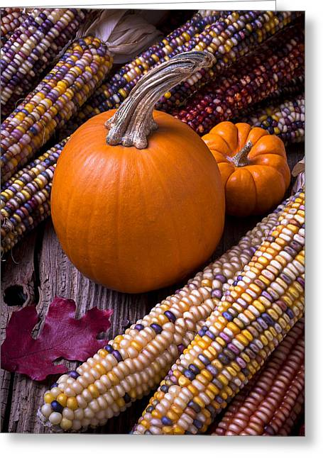 Kernels Greeting Cards - Pumpkins and corn Greeting Card by Garry Gay