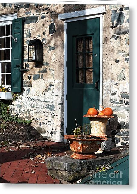 Stone House Greeting Cards - Pumpkins by the Door Greeting Card by John Rizzuto