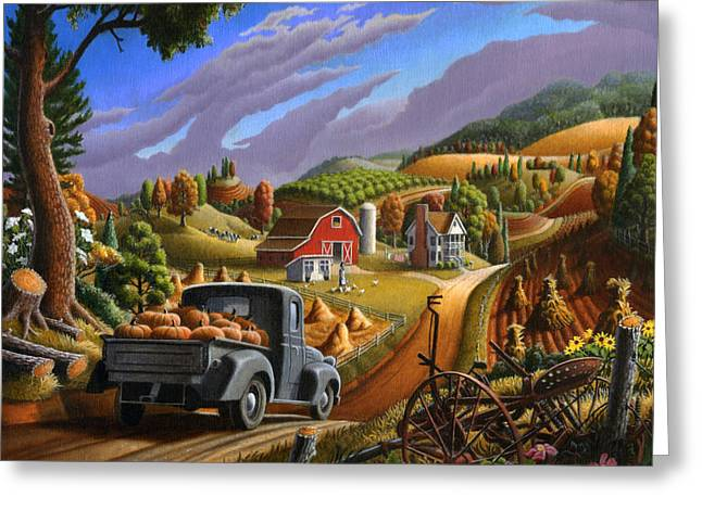 Halloween Folk Art Greeting Cards - Pumpkins Farm Folk Art Fall Landscape - Square Format Greeting Card by Walt Curlee