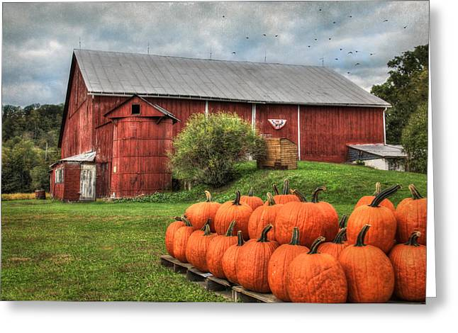 Barn Digital Greeting Cards - Pumpkins for Sale Greeting Card by Lori Deiter
