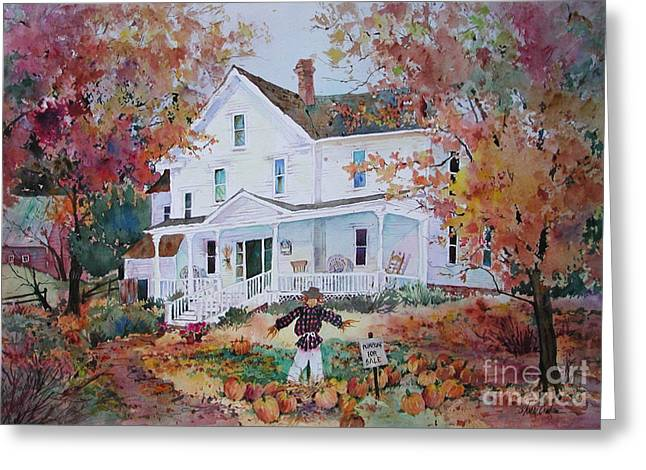 Clapboard House Paintings Greeting Cards - Pumpkins for Sale Greeting Card by Sherri Crabtree