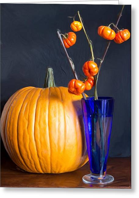 Indian Vase Greeting Cards - Pumpkins Greeting Card by Heidi Smith