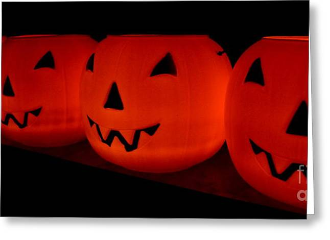 Samhain Greeting Cards - Pumpkins Lined Up Greeting Card by Kerri Mortenson