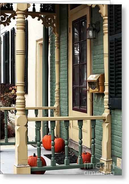 Vintage House Greeting Cards - Pumpkins on the Porch Greeting Card by John Rizzuto