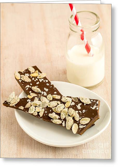 Chocolate Photographs Greeting Cards - Pumpkinseed and Burnt Butter Toffee Greeting Card by Edward Fielding