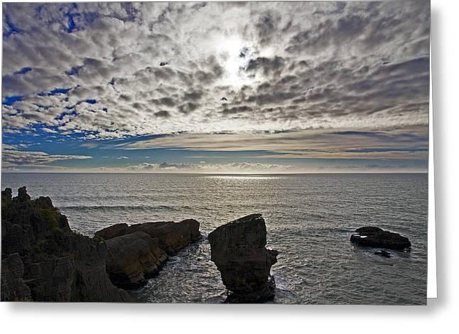 Blue Green Water Greeting Cards - Punakaiki Pancake Rocks #3 Greeting Card by Stuart Litoff
