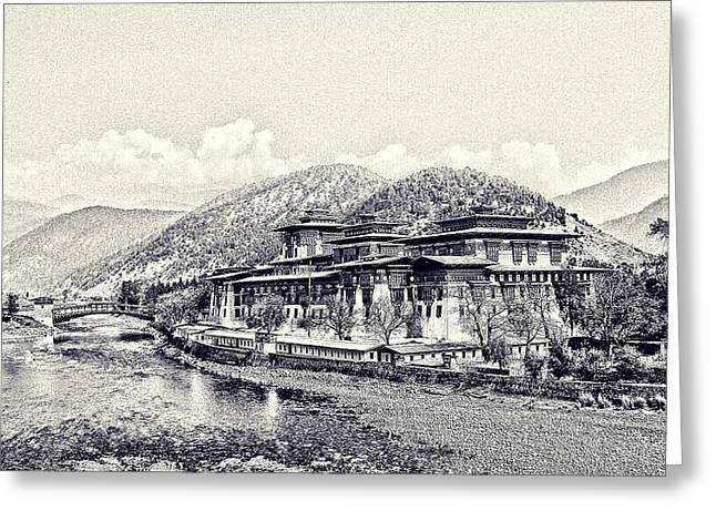 1907 Digital Greeting Cards - Punakha Dzong Greeting Card by Maciej Froncisz