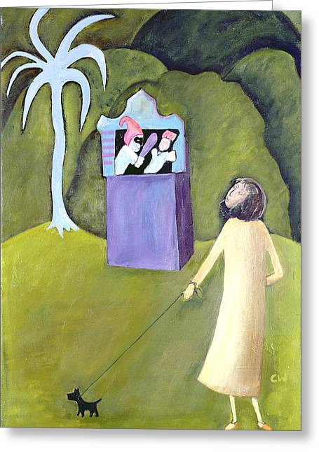 Dog Walking Greeting Cards - Punch And Judy, 1983 Oil On Canvas Greeting Card by Celia Washington