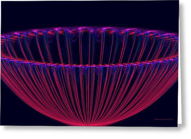 Fractal Orbs Greeting Cards - Punch Bowl Greeting Card by Naomi Richmond