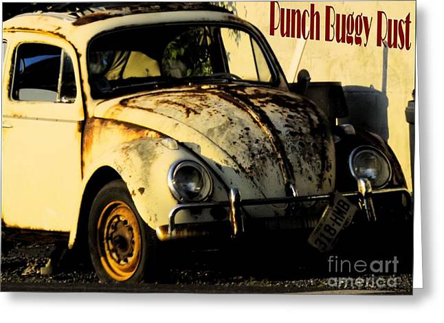 Rusted Cars Greeting Cards - Punch Buggy Rust Greeting Card by Robyn King