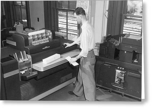 Punch Card Accounting Machines Greeting Card by Underwood Archives