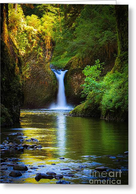 Peaceful Scenery Greeting Cards - Punchbowl Falls Greeting Card by Inge Johnsson