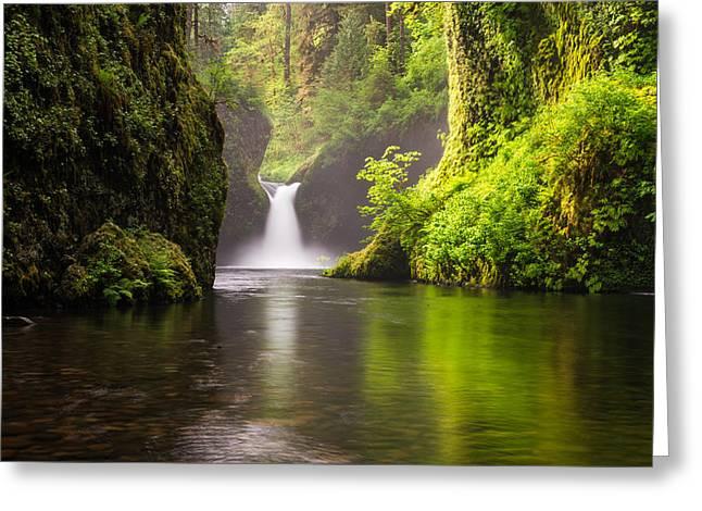 Eagle Creek Greeting Cards - Punchbowl Falls Greeting Card by Joseph Rossbach