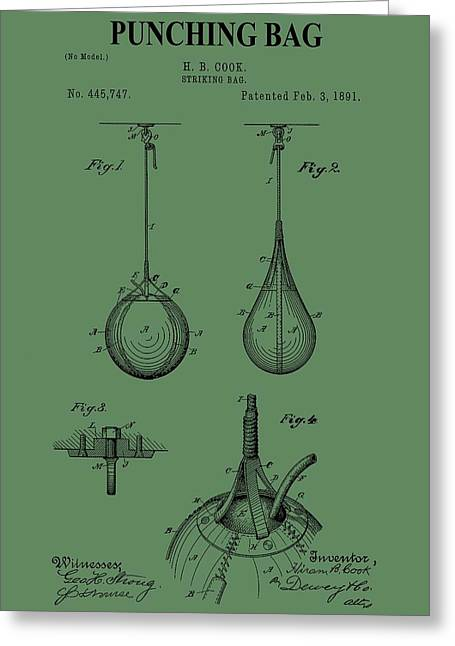Punch Digital Greeting Cards - Punching Bag Patent On Green Greeting Card by Dan Sproul