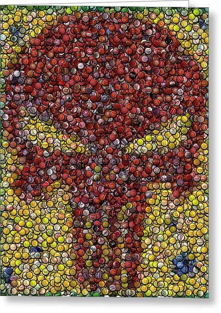 Bottle Cap Drawings Greeting Cards - Punisher Bottle Cap Mosaic Greeting Card by Paul Van Scott