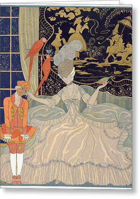 Unfair Greeting Cards - Punishing the Page  Greeting Card by Georges Barbier