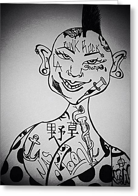 Bad Drawing Drawings Greeting Cards - Punk Rock Babe Greeting Card by Matthew  Smith