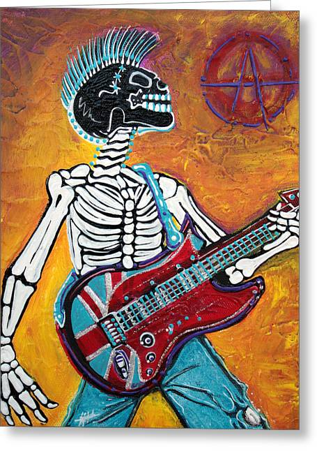 Democracy Paintings Greeting Cards - Punks Not Dead Greeting Card by Laura Barbosa