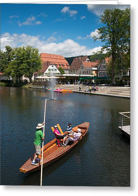 Gondolier Greeting Cards - Punt on the river in lovely Nagold Germany Greeting Card by Matthias Hauser