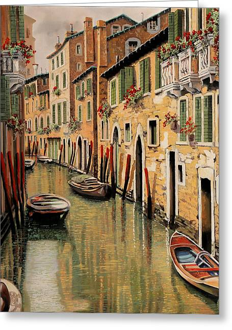 Docked Boats Paintings Greeting Cards - Punte Rosse A Venezia Greeting Card by Guido Borelli