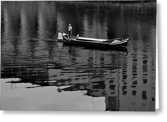 Boats In Reflecting Water Greeting Cards - Punting the Arno- Florence Greeting Card by Jim ODonnell