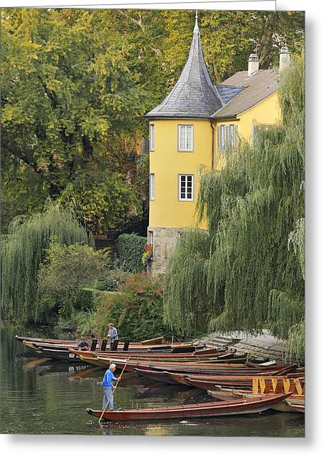 Gondolier Greeting Cards - Punts in lovely Tuebingen Germany Greeting Card by Matthias Hauser
