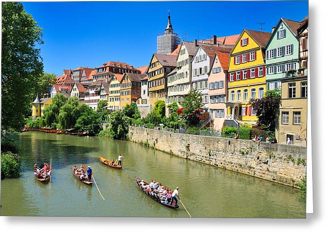 Old House Photographs Greeting Cards - Punts on river Neckar in lovely old Tuebingen Germany Greeting Card by Matthias Hauser