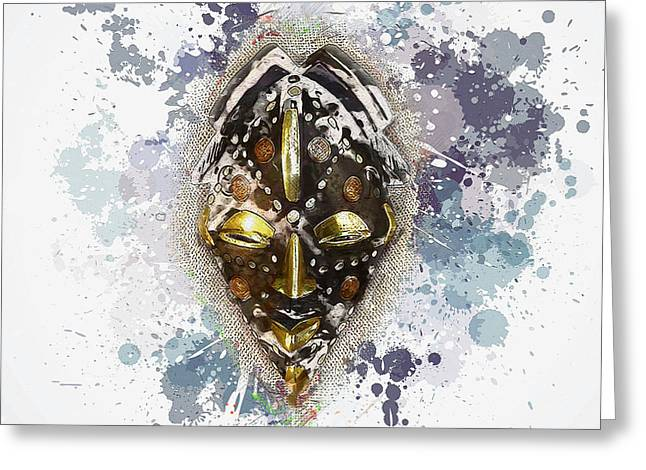 Congo Decor Greeting Cards - Punu Prosperity Mask Greeting Card by Serge Averbukh