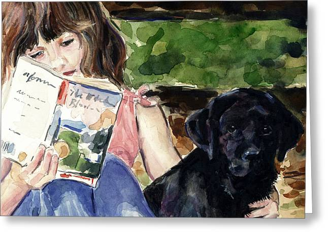 Pup and Paperback Greeting Card by Molly Poole