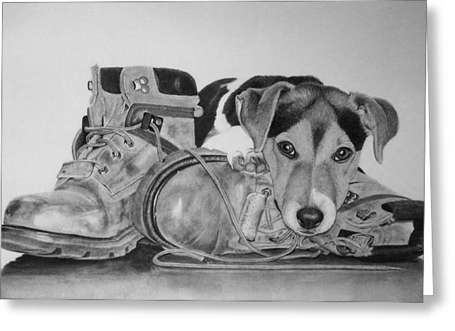 Pup N Boots Greeting Card by Lori Wiseman
