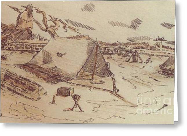 Ww Ii Drawings Greeting Cards - Pup Tents 167th General Hospital Cherbourg France WW II Greeting Card by David Neace
