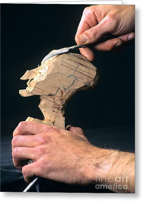 Craftsman Greeting Cards - Puppet being carved from wood Greeting Card by Bernard Jaubert