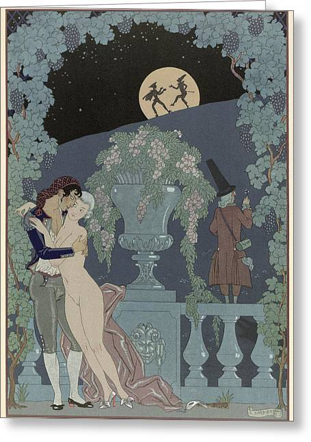 Grape Vines Paintings Greeting Cards - Puppets Greeting Card by Georges Barbier