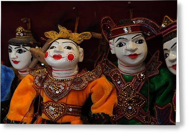 Jesters Puppet Greeting Cards - Puppets of Myanmar Greeting Card by Janet Penley