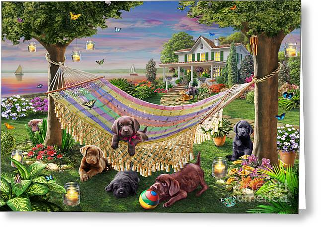 Puppies and Butterflies Greeting Card by Adrian Chesterman