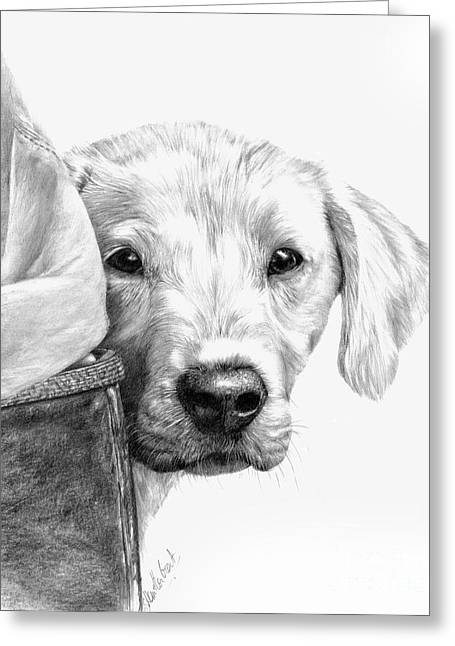 Dog Prints Greeting Cards - Puppies and Wellies Greeting Card by Sheona Hamilton-Grant