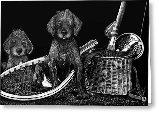Puppies Mixed Media Greeting Cards - Puppies Are Ready to Go Fish Greeting Card by Anderson R Moore