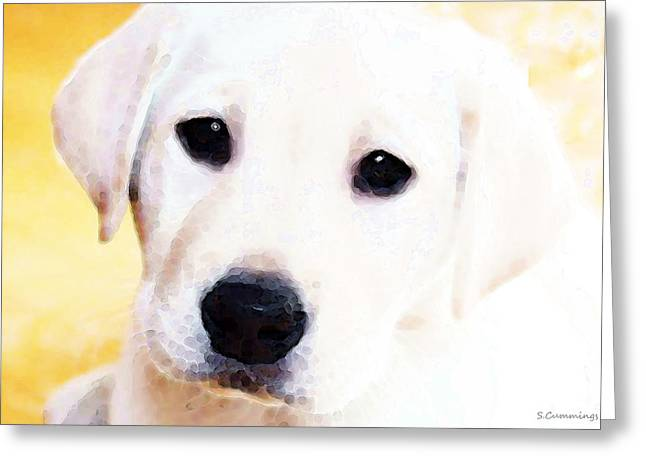 Yellows Framed Prints Greeting Cards - Puppy Art - Lil Yellow Greeting Card by Sharon Cummings