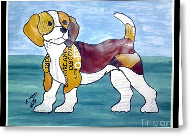 Puppies Mixed Media Greeting Cards - Puppy Greeting Card by Eman Allam