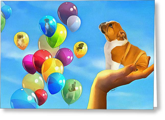 Anthony J. Caruso Greeting Cards - Puppy Balloon-A-Gram Greeting Card by Anthony Caruso