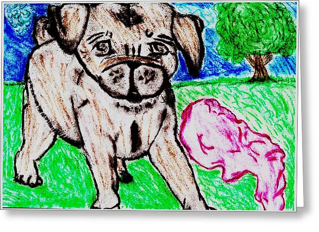 Doggy Pastels Greeting Cards - Puppy Daisy Red Blanket Outside Greeting Card by Shaunna Juuti