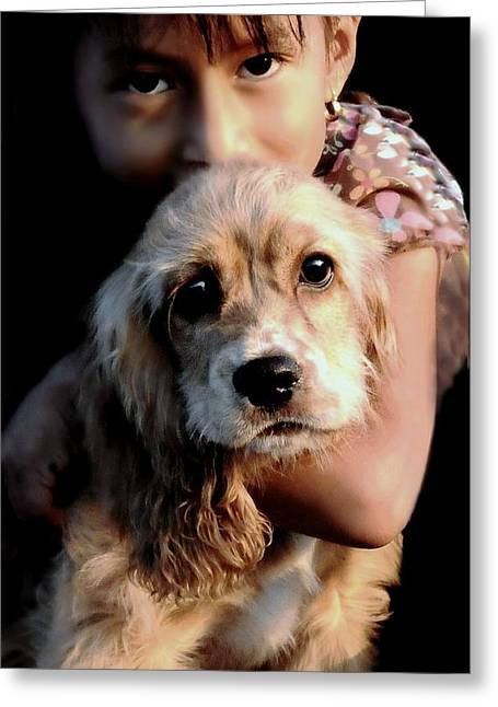 Girl And Animals Greeting Cards - Puppy Eyes Greeting Card by Diana Angstadt