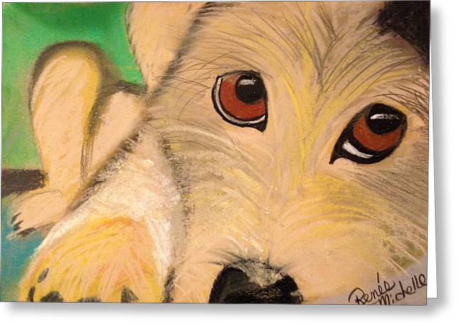 Puppies Pastels Greeting Cards - Puppy Eyes Greeting Card by Renee Michelle Wenker